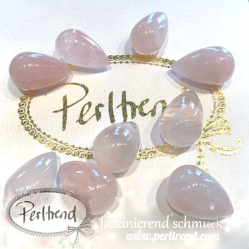 www.perltrend.com Edelsteine Gemstones Steine Perlen Heilsteine Schmuck Schmuckdesign Perltrend Luzern Schweiz Onlineshop Rosenquarz rosa pink tropfen 20 mm drop