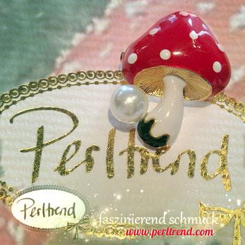 www.perltrend.com ansteckschmuck Brosche brooch Pilz Mushroom Toadstool  Autumn Perltrend  Luzern Schmuck Schweiz Onlineshop Jewellery Jewelry rot weiss glückspilz
