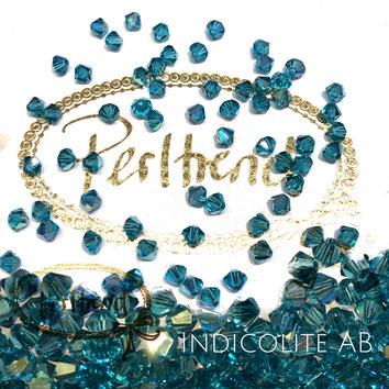Perltrend www.perltrend.com Luzern Schweiz Onlineshop Schmuck Perlen Swarovski Crystals Bicone beads bead Doppelkegel Indicolite AB Aurore Boreale