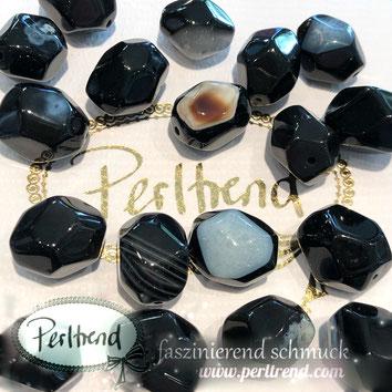 www.perltrend.com Edelsteine Gemstones Steine Perlen Heilsteine Schmuck Schmuckdesign Perltrend Luzern Schweiz Onlineshop  Sardonyx schwarz braun grau weiss Nugget facettiert 17 mm