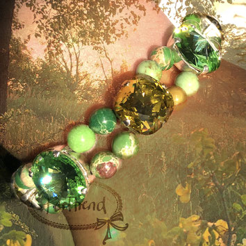 Perltrend Luzern Schweiz onlineshop www.perltrend.com Schmuck Jewellery Jewelry Armband Armschmuck Armkette Bracelet grün green harmony with crystals Highlight Jaspis Jasper Kaiser Swarovski gold Meeressediment Edelstein Gemstone
