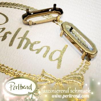 www.perltrend.com Luzern Schweiz Onlineshop Schmuck Jewellery Jewelry Design Style Schmuckdesign Fassung oval lang Swarovski Crystals antik goldfarben