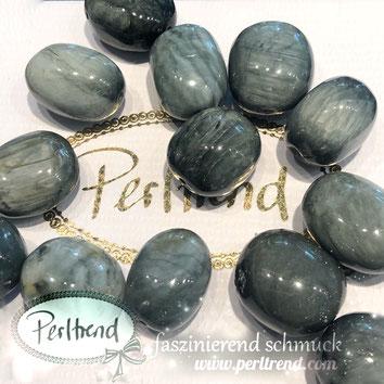 www.perltrend.com Edelsteine Gemstones Steine Perlen Heilsteine Schmuck Schmuckdesign Perltrend Luzern Schweiz Onlineshop  Edelsteinperlen Trommelsteine Katzenaugen-Quarz Trommel 15 - 20 mm
