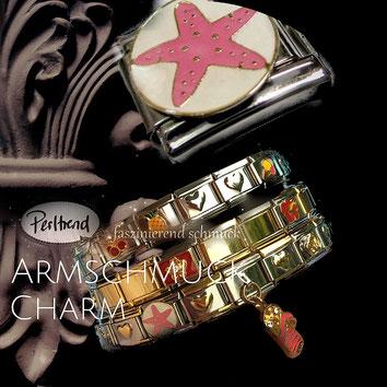www.perltrend.com Armschmuck Charm Charms Module Stahl Armband Perltrend Luzern Schweiz Onlineshop Schmuck Perlen Accessoires