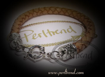 Perltrend www.perltrend.com Arm Schmuck Leder beige natur geflochten Bracelet silver silber leather Jewellery Jewelry Luzern Schweiz onlineshop Schmuck Perlen design