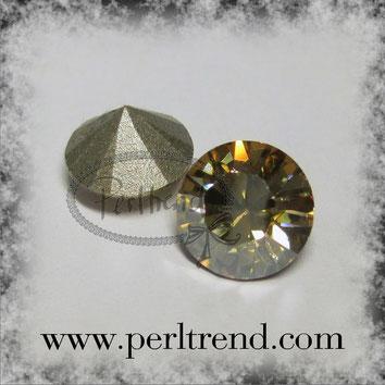 Perltrend Luzern Schweiz Onlineshop Schmuck Perlen Accessoires Verarbeitung Design Swarovski Crystals Crystal original Xilion 1028 Chaton Round Stone Crystal facettiert Crystal Golden Shadow foiled 8 mm
