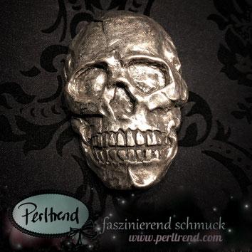 www.perltrend.com Perltrend  Luzern Schweiz Accessoires Gürtelschnallen zum Auswechseln Gürtel Gurt Schnalle Totenkopf antiksilberfarben silberfarben