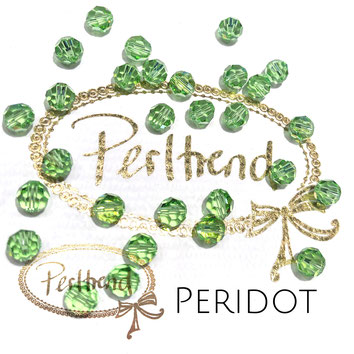 www.perltrend.com Perltrend Luzern Schweiz Onlineshop Perlen Schmuck Accessoires original Swarovski Crystals Crystal 5000 facet bead facettiert rund Peridot grün green  6 mm