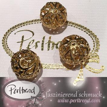 www.perltrend.com Perltrend Luzern Schweiz Onlineshop Schmuck Jewellery Jewelry Perlen Pearls Accessoires basteln Schmuckdesign DIY Schmuckverarbeitung Perlen goldfarben gold golden filigran 18mm