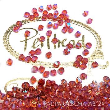 Perltrend www.perltrend.com Luzern Schweiz Onlineshop Schmuck Perlen Swarovski Crystals Bicone beads bead Doppelkegel Padparadscha AB Aurore Boreale 2x