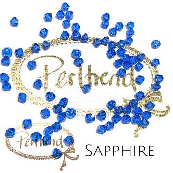 Perltrend www.perltrend.com Luzern Schweiz Onlineshop Schmuck Perlen Swarovski Crystals Bicone beads bead Doppelkegel 4 mm Sapphire