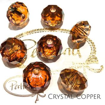 Perltrend Luzern Schweiz Onlineshop Schmuck Perlen Accessoires Verarbeitung Design Swarovski Crystals Crystal original Briolette Bead Crystal Copper 18 mm facettiert kupferfarben glänzend