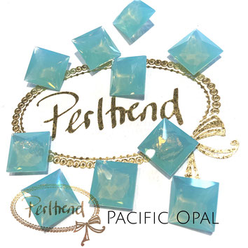 www.perltrend.com Swarovski Crystal Elements original Crystals Perltrend Luzern Schweiz Onlineshop Schmuck Jewellery Schmuckverarbeitung facettet facettierte Cabochons Crystal facettiert Fancy Stones Princess Square 4447 12 mm Pacific Opal