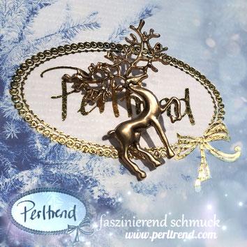 www.perltrend.com Perltrend Luzern Schmuck Jewellery Jewelry Onlineshop Ansteckschmuck Brosche Brooch Pin Nadel Anstecker goldfarben Accessoires Rentier Reindeer Rudolph Santa Winter Weihnacht