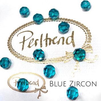 www.perltrend.com Perltrend Luzern Schweiz Onlineshop Perlen Schmuck Accessoires original Swarovski Crystals Crystal 5000 facet bead facettiert rund 8 mm Blue Zircon