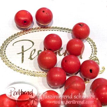 www.perltrend.com Edelsteine Gemstones Steine Perlen Heilsteine Schmuck Schmuckdesign Perltrend Luzern Schweiz Onlineshop  Koralle Korallen Coral Imitation rot rund 12 mm