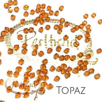 Perltrend www.perltrend.com Luzern Schweiz Onlineshop Schmuck Perlen Swarovski Crystals Bicone beads bead Doppelkegel 4mm Topaz