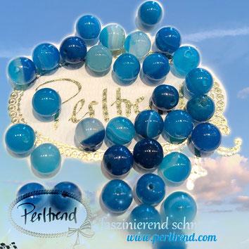 www.perltrend.com Edelsteine Gemstones Steine Perlen Heilsteine Schmuck Schmuckdesign Perltrend Luzern Schweiz Onlineshop  Edelsteinperlen Naturstein Achat Agate Onyx blau blue gestreift gelocht 8 mm