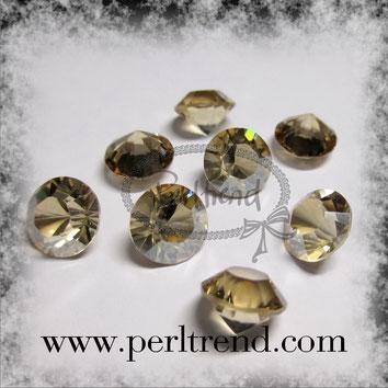 Perltrend Luzern Schweiz Onlineshop Schmuck Perlen Accessoires Verarbeitung Design Swarovski Crystals Crystal original Xilion 1028 Chaton Round Stone Crystal facettiert Crystal Golden Shadow unfoiled 8 mm