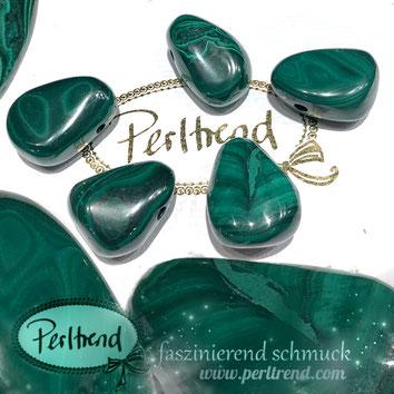 Edelstein Malachit Anhänger Perlen www.perltrend.com Gemstone Pendant Perltrend Luzern Schweiz grün mit Struktur Schmuck Heilstein Natur
