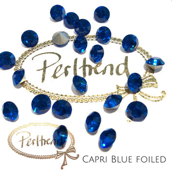 Perltrend Luzern Schweiz Onlineshop Schmuck Perlen Accessoires Verarbeitung Design Swarovski Crystals Crystal original Xilion 1028 Chaton Round Stone Crystal facettiert 8 mm Capri Blue blau