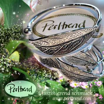 www.perltrend.com Armschmuck silber silberfarben Armreit Armschmuck Perltrend Luzern Schweiz Onlineshop Schmuck Jewellery Jewelry Fashion Accessoires Modeschmuck Blatt Natur Frühling Blossom Blütezeit