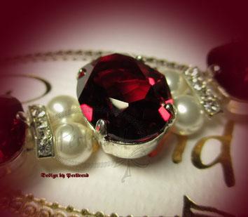 www.perltrend.com Amschmuck Rot Weiss Crystal Siam Highlight Bracelet Armband Armkette Schmuck Jewellery Jewelry Red White Luzern Schweiz Perltrend Onlineshop