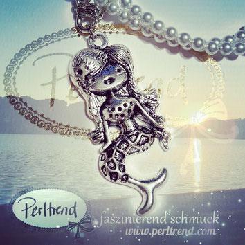 www.perltrend.com Anhänger platin- / silberfarben Modeschmuck Pendant Schmuck Perltrend Luzern Schweiz Onlineshop Maritim Summer Sommer Beach Meerjungfrau Mermaid Mermaids Lovely