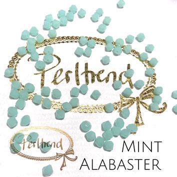Perltrend www.perltrend.com Luzern Schweiz Onlineshop Schmuck Perlen Swarovski Crystals Bicone beads bead Doppelkegel 4 mm Mint Alabaster