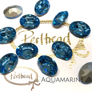 Perltrend Luzern Schweiz Onlineshop Schmuck Perlen Accessoires Verarbeitung Design Swarovski Crystals Crystal original  Fancy Stone oval 18 mm facettiert Aquamarine