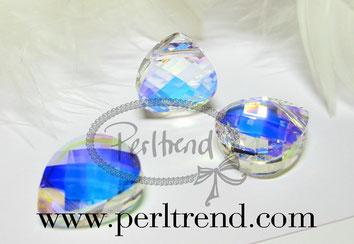 Perltrend Luzern Schweiz Onlineshop Schmuck Perlen Accessoires Verarbeitung Design Swarovski Crystals Crystal AB Aurore Boreale original Flat Pear Pendant Briolette Anhänger