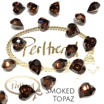 www.perltrend.com Swarovski Crystal Elements original Crystals Perltrend Luzern Schweiz Onlineshop Schmuck Jewellery Schmuckverarbeitung facettet facettierte Crystal Fancy Stone Heart 4800 Herz 11 x 10 mm Smoked Topaz