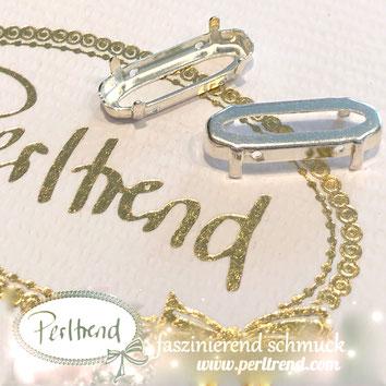 www.perltrend.com Luzern Schweiz Onlineshop Schmuck Jewellery Jewelry Design Style Schmuckdesign Fassung oval lang Swarovski Crystals versilbert silberfarben