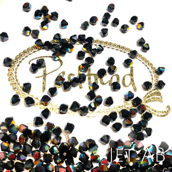 Perltrend www.perltrend.com Luzern Schweiz Onlineshop Schmuck Perlen Swarovski Crystals Bicone beads bead Doppelkegel 4 mm Jet AB Aurore Boreale