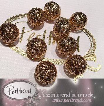 www.perltrend.com Perltrend Luzern Schweiz Onlineshop Schmuck Jewellery Jewelry Perlen Pearls Accessoires basteln Schmuckdesign DIY Schmuckverarbeitung Perlen goldfarben gold golden filigran 12mm