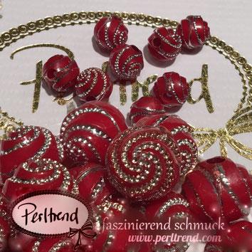 Perlen www.perltrend.com Jewel  Jewellery Jewelry Schmuck Luzern Schweiz Online Shop Acrylperlen Acryl DIY basteln Schmuckdesign Dekoration rot