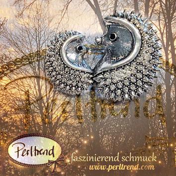 www.perltrend.com Ansteckschmuck Nadeln Broschen crystals silberfarben Trend Schmuck Luzern Schweiz Perltrend Igel Hedgehog silberfarben mit Augen schwarz  brooch eyes black herbst autumn