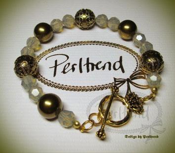 www.perltrend.com Arm Schmuck Grau Messing Gold  Vintage Armband Bracelet brass pearl Pearls Perlen Swarovski Crystals Perltrend Luzern Schweiz Online Shop