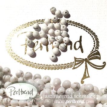 www.perltrend.com Edelsteine Gemstones Steine Perlen Heilsteine Schmuck Schmuckdesign Perltrend Luzern Schweiz Onlineshop Perle Schmuckstein  Howlith weiss grau beige rund 4 mm