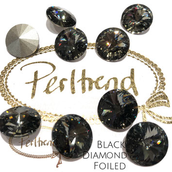 Perltrend Luzern Schweiz Onlineshop Schmuck Perlen Accessoires Verarbeitung Design Swarovski Crystals Crystal original Rivoli Chaton Round Stone Crystal facettiert Black Diamond 14 mm