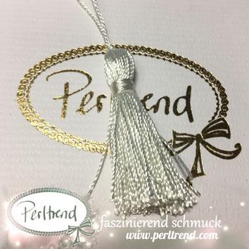www.perltrend.com Perltrend Schweiz Luzern Perlen Beads Crystals Edelsteine Schmuckzubehör Schmuckverarbeitung Verarbeitungsmaterial basteln Dekoration Quasten  weiss