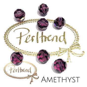 www.perltrend.com Perltrend Luzern Schweiz Onlineshop Perlen Schmuck Accessoires original Swarovski Crystals Crystal 5000 facet bead facettiert rund 10 mm Amethyst