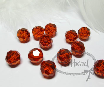 www.perltrend.com Perltrend Luzern Schweiz Onlineshop Perlen Schmuck Accessoires original Swarovski Crystals Crystal facet bead facettiert rund Indian Red rot orangerot