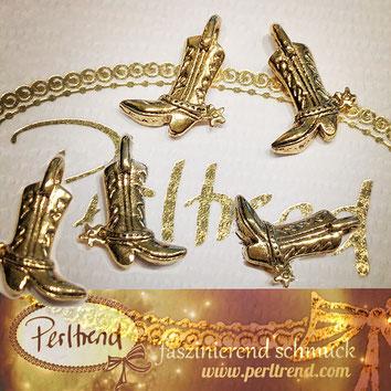 www.perltrend.com Luzern Schweiz Onlineshopf Schmuck Perlen Accessoires Jewellery Anhänger Pendant goldfarben Schuhe Cowgirl Cowboy Stiefel boot gold golden cool