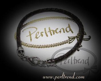 Perltrend Luzern Schweiz Schmuck Onlineshop www.perltrend.com Armschmuck Armband Bracelet Leder dunkelbraun