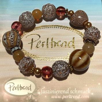 Perltrend Luzern Schweiz Onlineshop www.perltrend.com Schmuck Armschmuck Bracelet Armkette Armband Schmuck Jewellery Jewelry online shop Design Beige Summer Treasures Lovely Sandy Beach