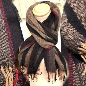 Perltrend Luzern Schweiz Onlineshop www.perltrend.com Schmuck Accessoires Mode Schal Schals Foulard Halstuch Karomuster kariert gemustert Karo Streifen ZickZack dunkelblau-schwarz, beige, rot