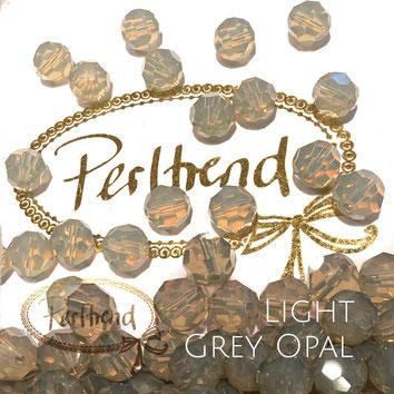 www.perltrend.com Perltrend Luzern Schweiz Onlineshop Perlen Schmuck Accessoires original Swarovski Crystals Crystal facet bead facettiert rund 8 mm light grey opal grau