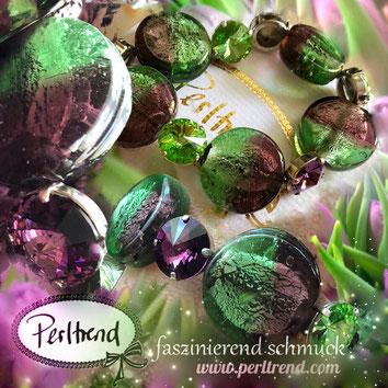 www.perltrend.com Armschmuck Armband Armkette Bracelet Schmuck Jewellery Perltrend Luzern Schweiz Onlineshop Violett Grün Auberginelle Aubergine