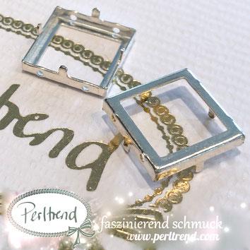 www.perltrend.com Luzern Schweiz Onlineshop Schmuck Jewellery Jewelry Design Style Schmuckdesign Fassung Viereckig viereck Swarovski Crystals versilbert silberfarben Rahmen Frame Fancy Stone Square Ring 4439 14mm
